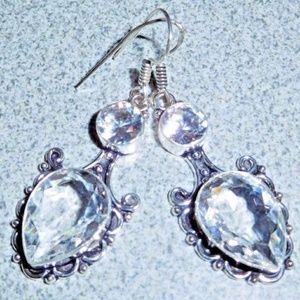 Artisan White Topaz 925 Silver Earrings